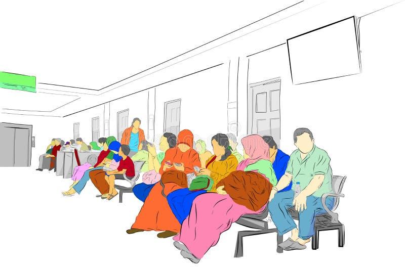 Prosty nakreślenie, Kolorowi ludzie przy poczekalnią przy szpitalem royalty ilustracja