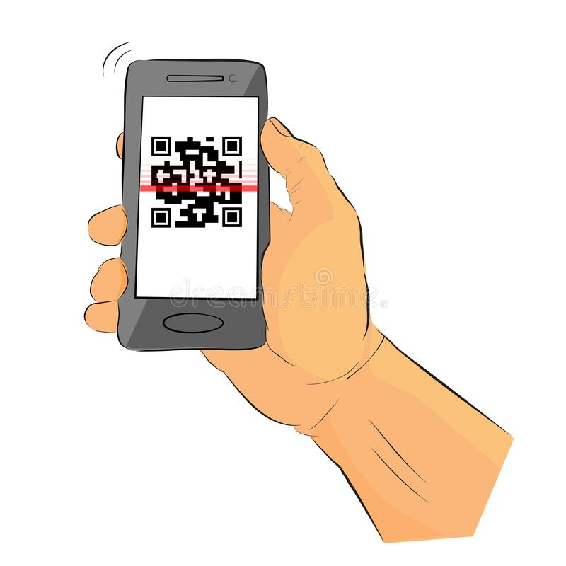 Prosty nakreślenie ręki mienie Szary Smartphone robi skanerowanie imitacji QR, Szybki odpowiedź kod ilustracji
