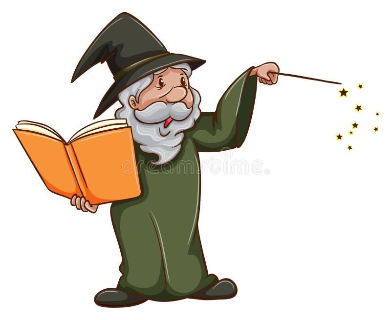 Prosty nakreślenie stary czarownik ilustracja wektor