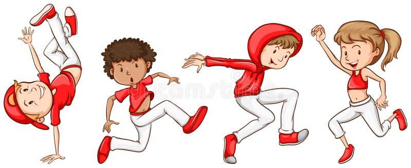 Prosty nakreślenie tancerze w czerwieni royalty ilustracja