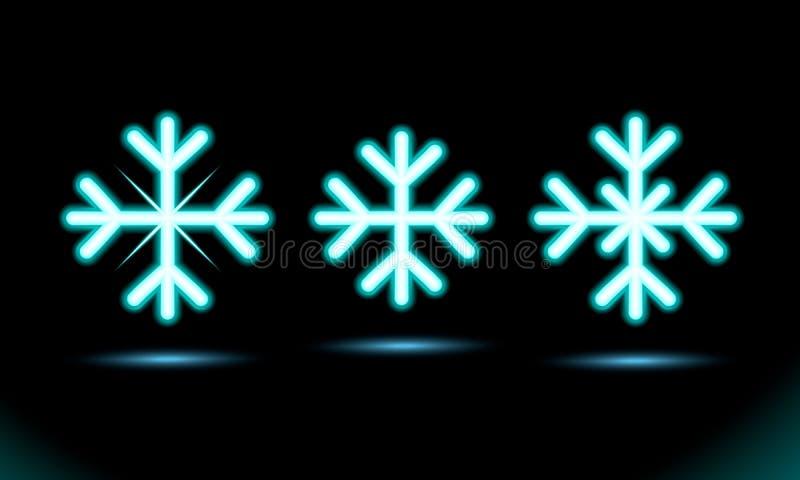 Prosty Neonowy błękitny lampowy owal paskuje płatek śniegu ikony set Modny zaokrąglony, nowy rok, xmas znak Świętowanie projekt n ilustracja wektor