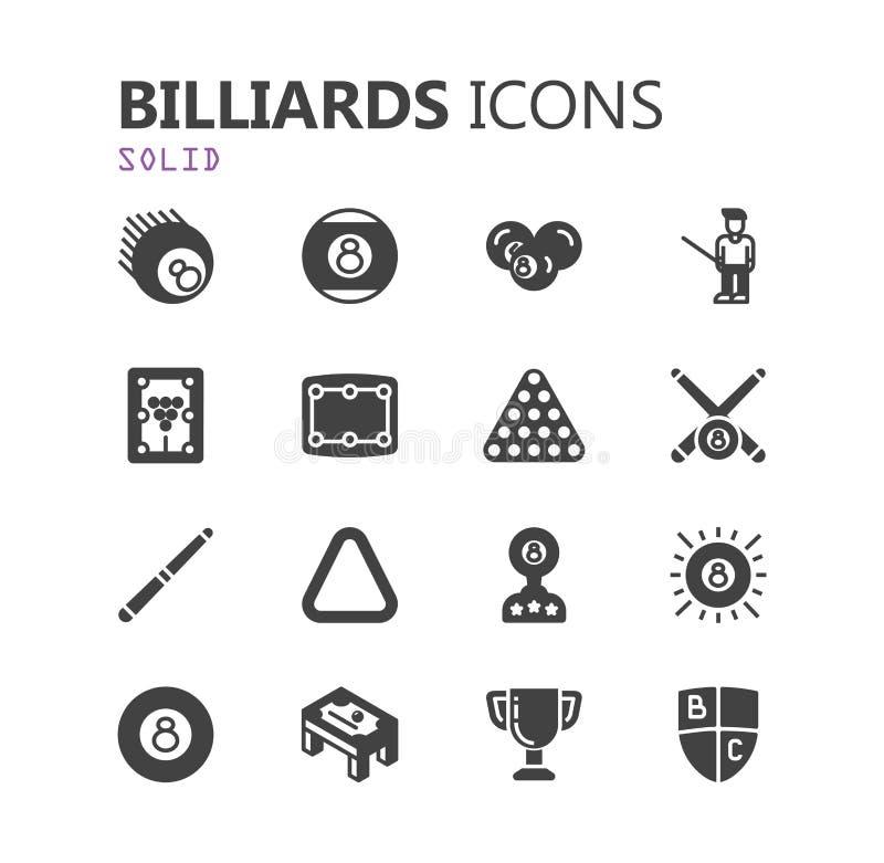 Prosty nowożytny set billiards ikony Premii kolekcja również zwrócić corel ilustracji wektora ilustracji