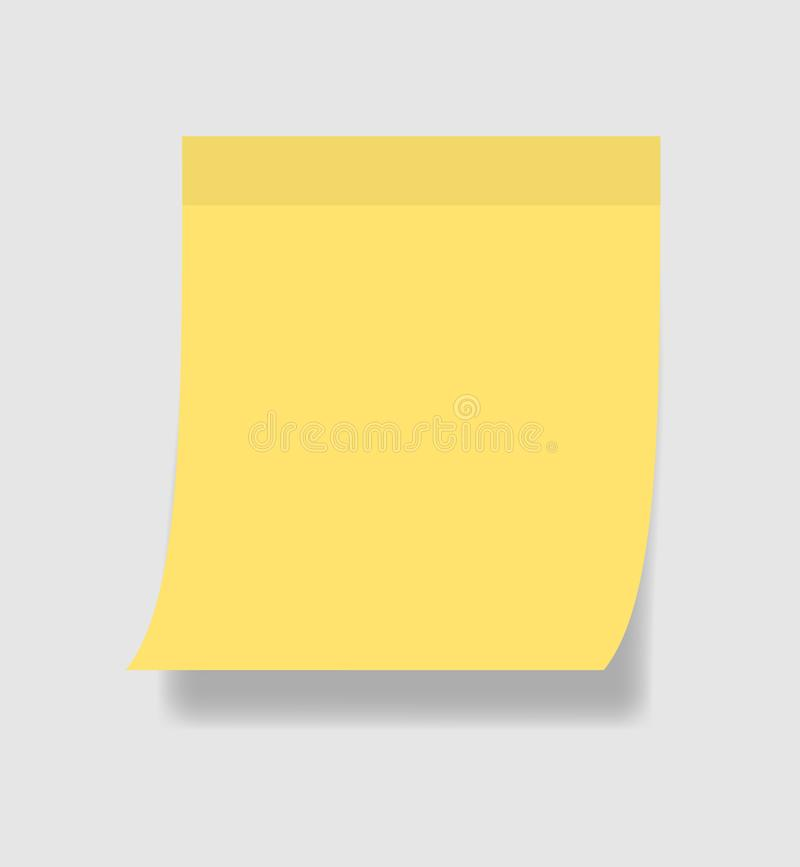 Prosty nutowy papier lub kleisty majcher Szablon żółta kleista notatka z adhezyjną taśmą na popielatym tle Wektorowa ilustracja E ilustracja wektor