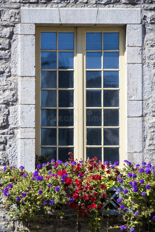 Prosty obrazek kamień zakrywał okno z kwiat różnicami w przodzie zdjęcia stock