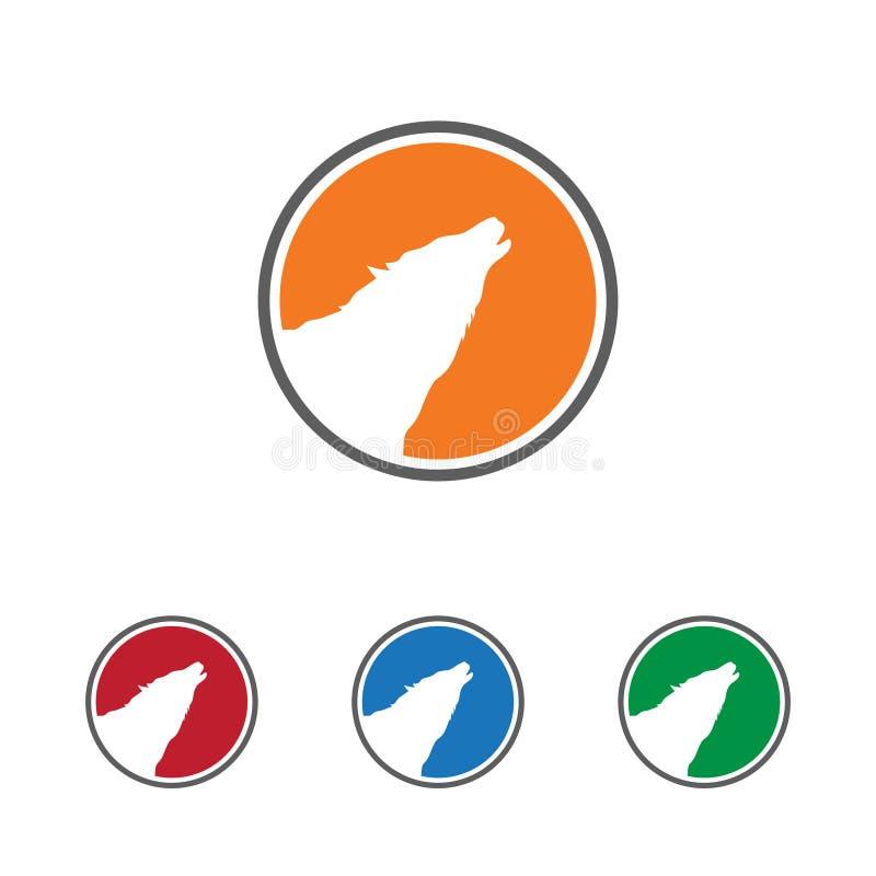 Prosty okręgu logo szablon Wyć wilk głowę ilustracja wektor