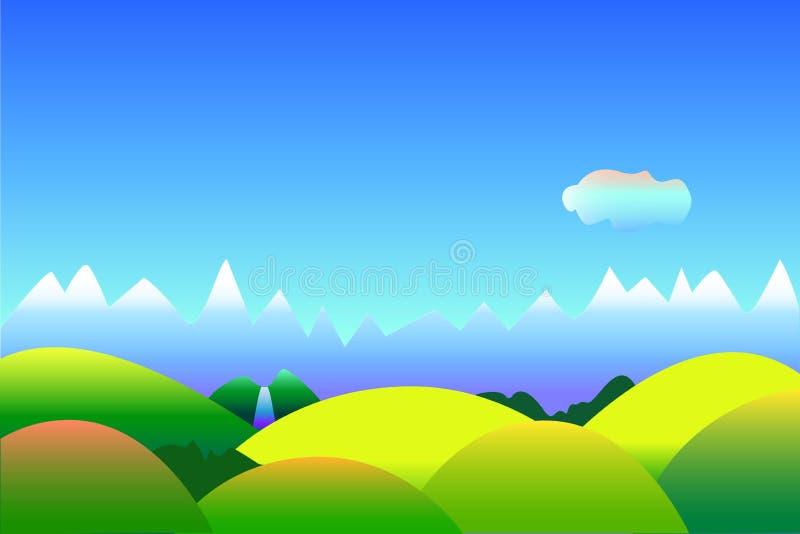 Prosty optymistycznie krajobrazowy tło z przestrzenią dla teksta, ilustracja w błękicie i zieleń, royalty ilustracja
