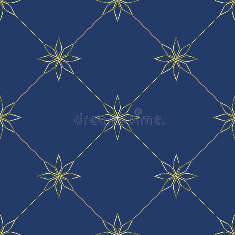 Prosty ornament z kwiecistymi elementami Kolor żółty kropkujący wzór na błękitnym tle bezszwowa konsystencja ilustracja wektor