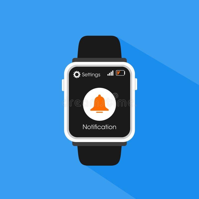 Prosty Płaski minimalista Smartwatch z powiadomienie dzwonu ikoną fotografia stock