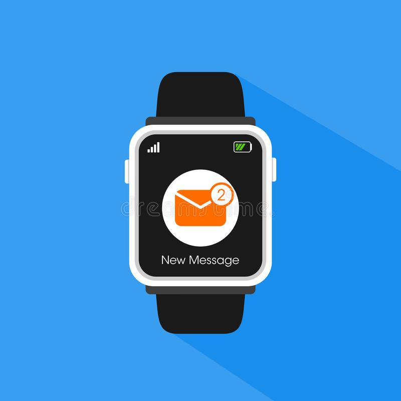 Prosty Płaski minimalista Smartwatch z Przybywającymi wiadomościami zdjęcie royalty free