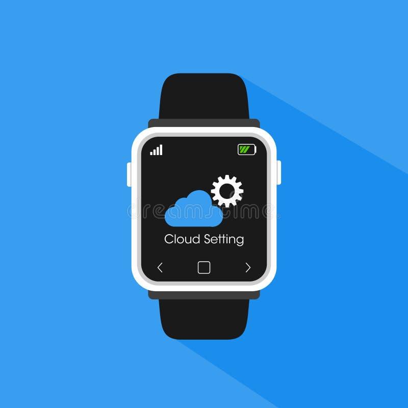 Prosty płaski minimalistyczny smartwatch z obłocznym app położenia guzikiem obraz royalty free