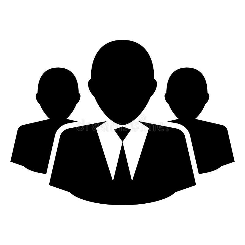 Prosty, płaski, monochrom grupa ludzie biznesu sylwetek/drużyna ilustracji