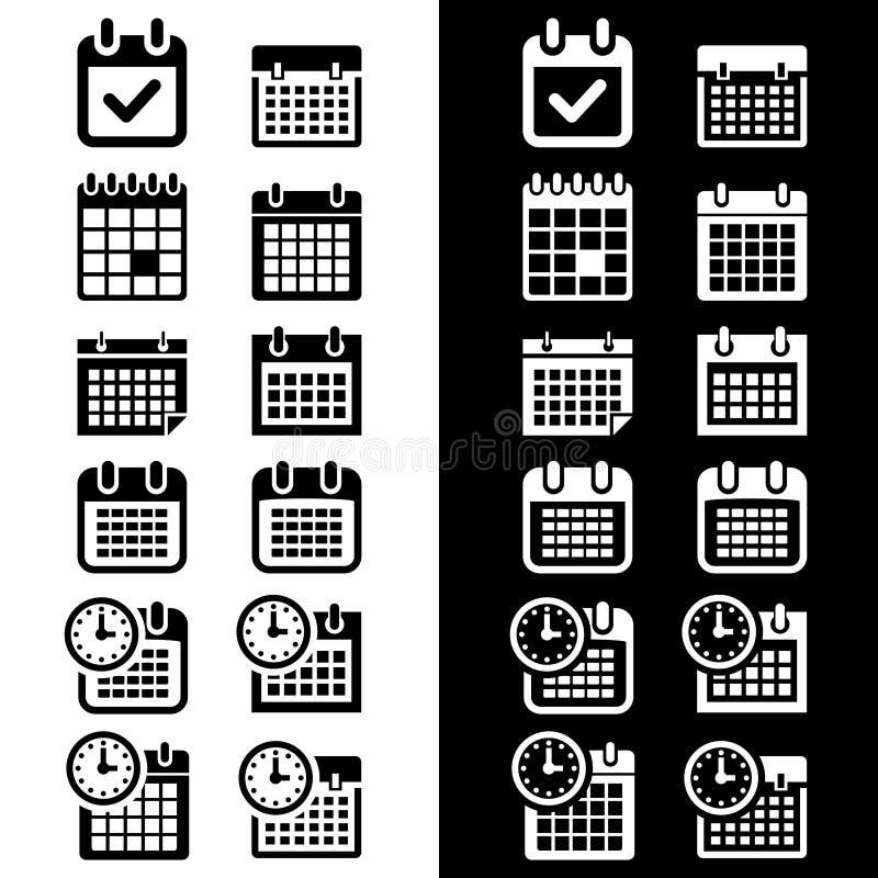 Prosty, płaski monochromu kalendarza ikony set, Czarny i biały wersje ilustracji