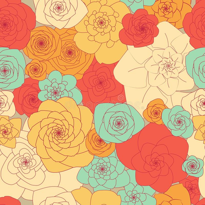 Prosty pierwotny bezszwowy kwiecisty wzór jaskrawi wielcy kwiaty ilustracja wektor