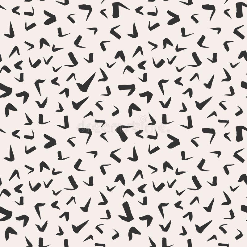 Prosty pociągany ręcznie atrament doodles, bezszwowy wzór, abstrakcjonistyczny geometryczny tło Prosty atramentu muśnięcie muska  ilustracja wektor