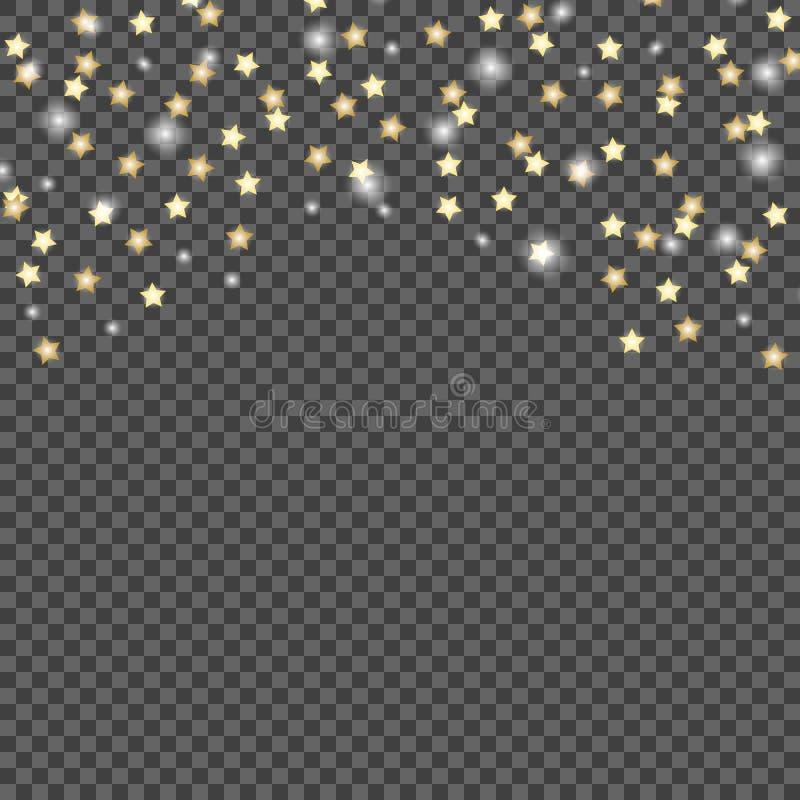 Prosty projekt spada gwiazdy na zmroku, przejrzysty odosobniony tło Wektorowy ilustracyjny szablon ilustracja wektor