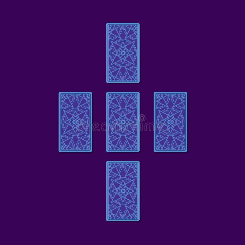 Prosty przecinający tarot rozszerzanie się Tarot kart z powrotem strona ilustracja wektor