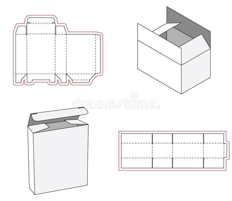 Prosty pudełka pakować kostkowy ciie out szablonu projekt 3d egzamin próbny Szablon prosty pudełko Cięcie z papieru lub kartonu royalty ilustracja
