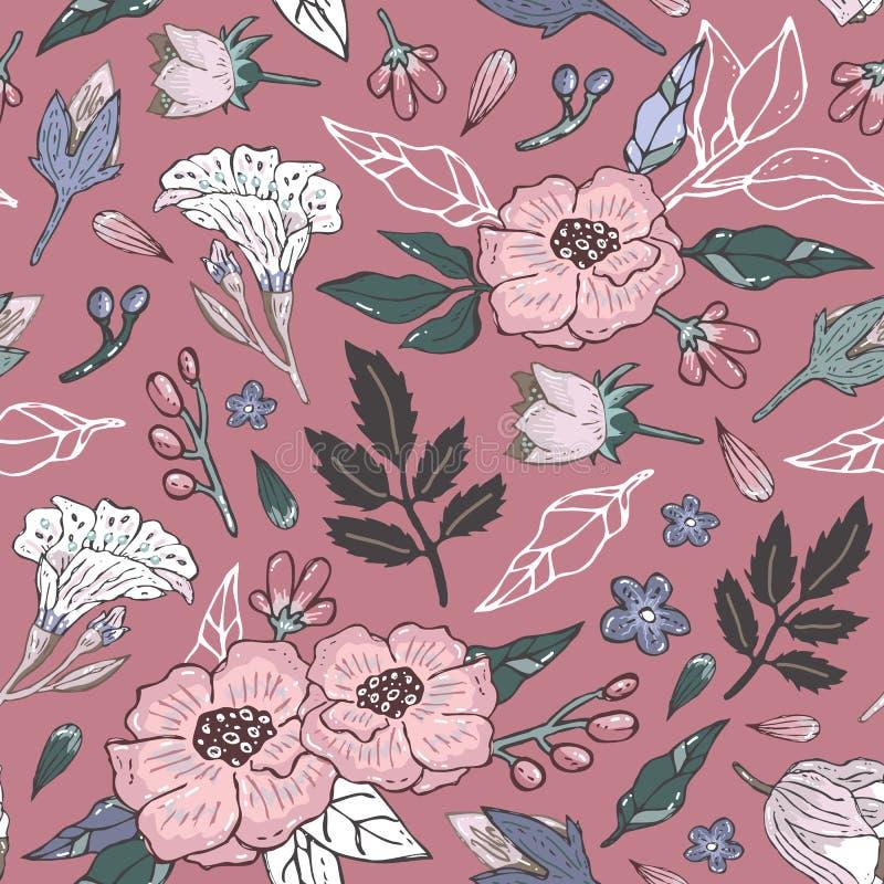 Prosty różowy kwiecisty wzór royalty ilustracja