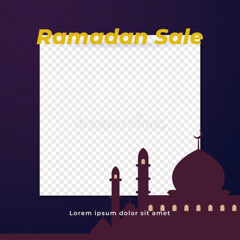 Prosty Ramadan sprzedaży tła szablonu projekt z przejrzystą przestrzenią dla wizerunku miejsca właściciela z wielkim meczetowym s ilustracja wektor