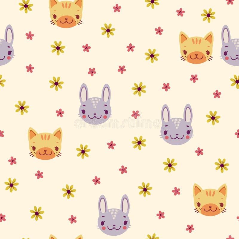Prosty retro wzór z stokrotkami i zwierzętami królik i figlarka ilustracja wektor