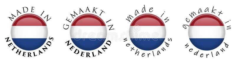 Prosty Robić w holandiach/Gemaakt w Nederland przekładu 3D guzika Holenderskim znaku Tekst wokoło okręgu z naitional flagą Dece ilustracji