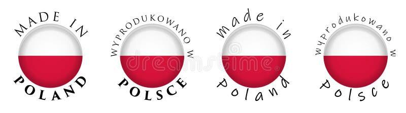 Prosty Robić w Polska, Wyprodukowano w Polska połysku/translati ilustracja wektor
