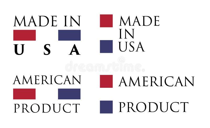 Prosty Robić w usa, Amerykańskiej produkt etykietce/ Tekst z obywatelem ilustracji