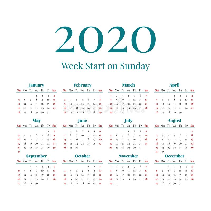 Prosty 2020 rok kalendarz fotografia royalty free