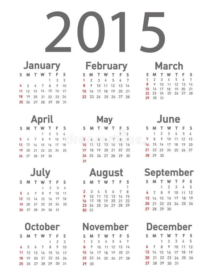Prosty 2015 rok kalendarz ilustracja wektor