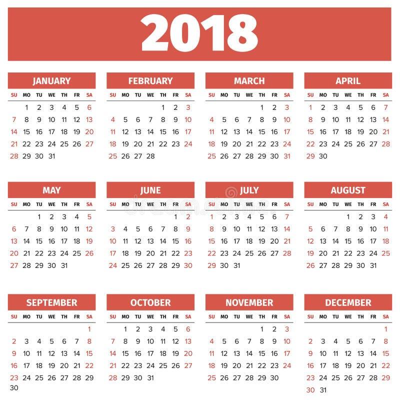 Prosty 2018 rok kalendarz royalty ilustracja