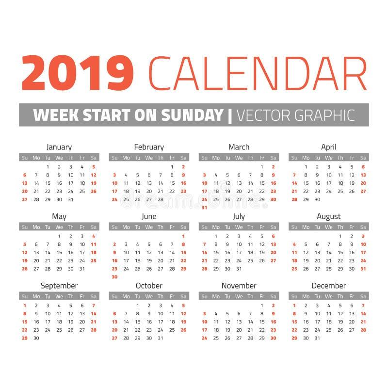 Prosty 2019 rok kalendarz ilustracja wektor
