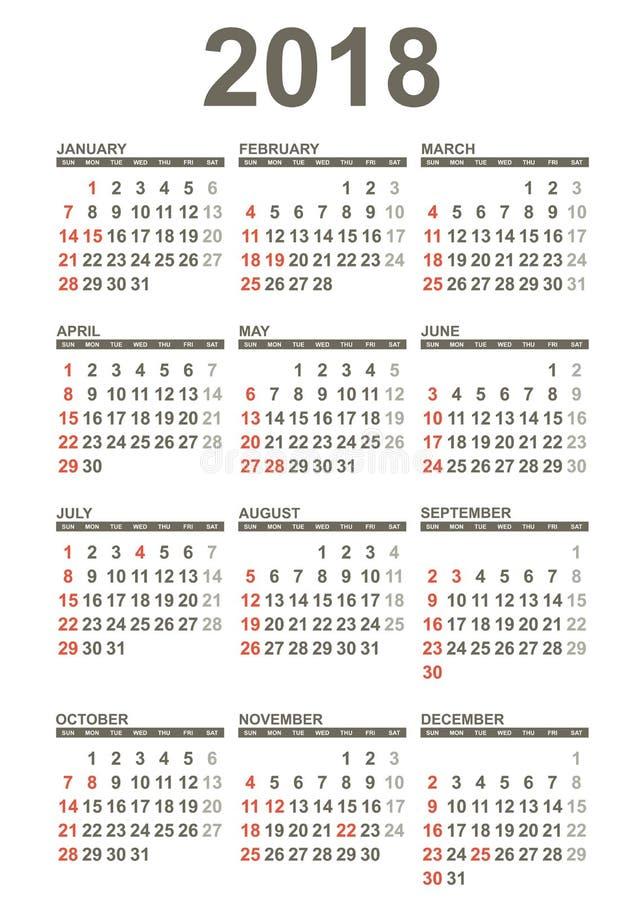 Prosty 2018 rok kalendarz ilustracja wektor