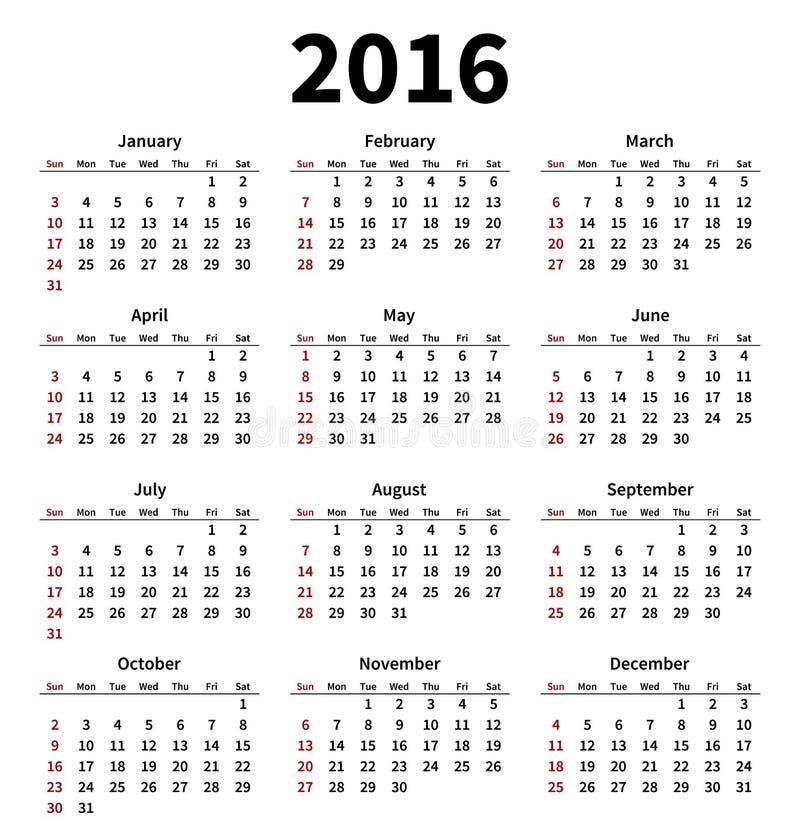 Prosty 2016 rok kalendarz na białym tle ilustracja wektor