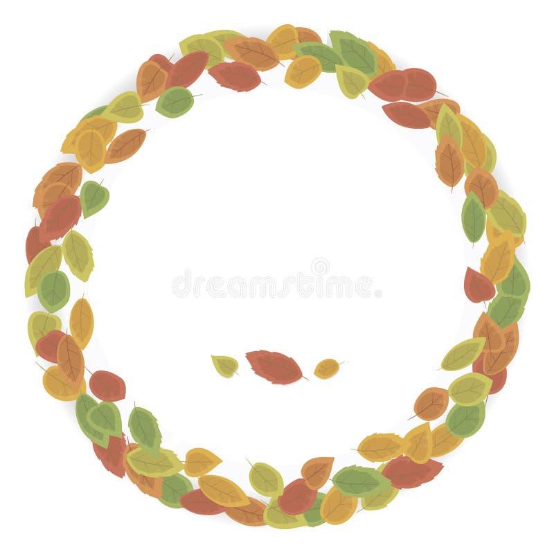 Prosty round wianek robić od jesień wielkich liści czerwień, kolor żółty, zieleń z cieniem odizolowywającym na białym tło wektoru ilustracji