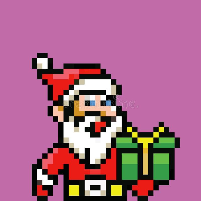Prosty Santa Claus avatar - retro piksel ilustracja ilustracja wektor