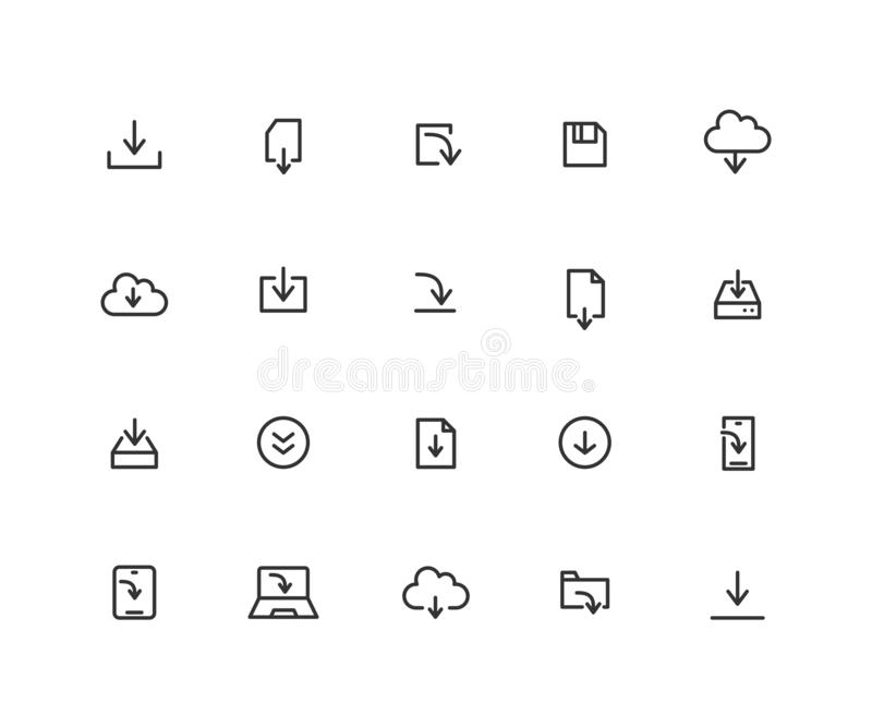 Prosty set ściąganie wektoru linii ikony Zawiera taki ikony jak chmurę, App, kartotekę i więcej, Editable wektorowy uderzenie royalty ilustracja