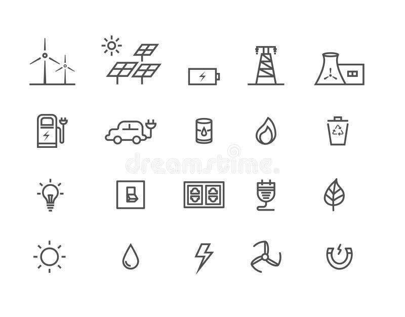 Prosty set źródłem zasilania energetycznego wektoru cienkie kreskowe ikony royalty ilustracja