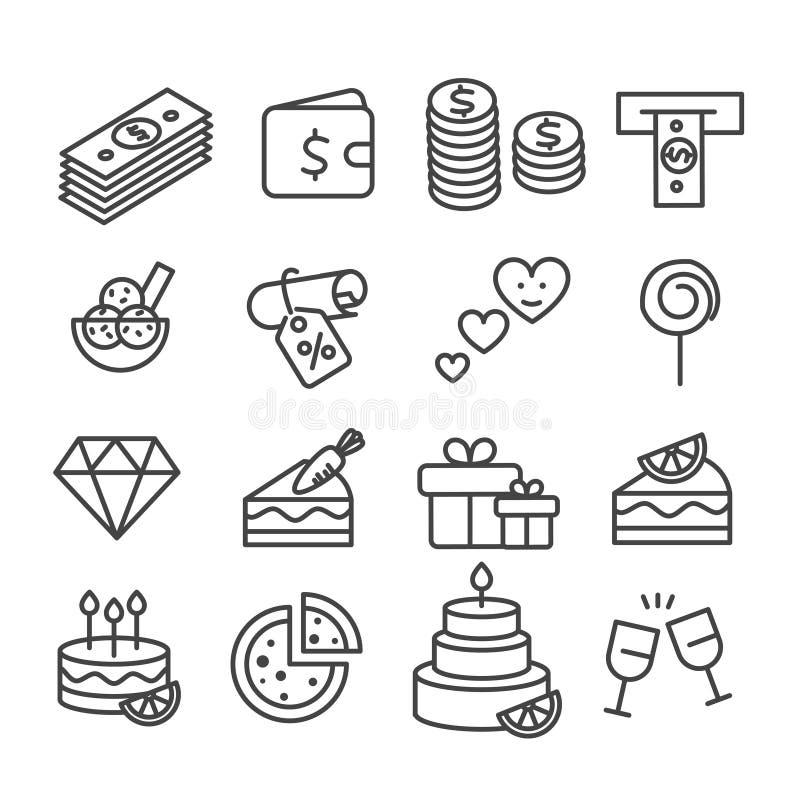 Prosty set dyskontowi talony dla deserów i napój ikon konturu odizolowywającego na białym tle ilustracji