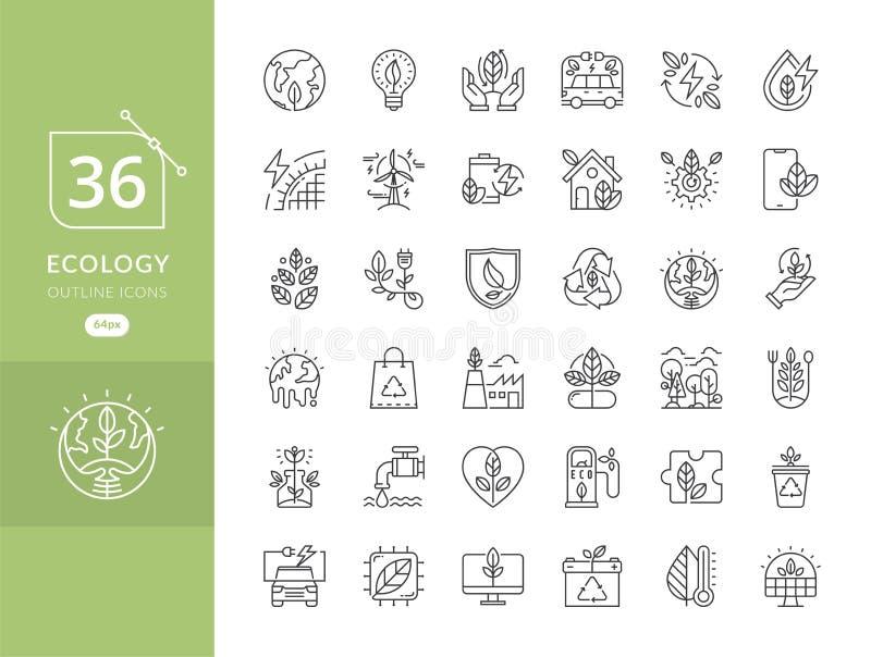 Prosty set eco ikony royalty ilustracja