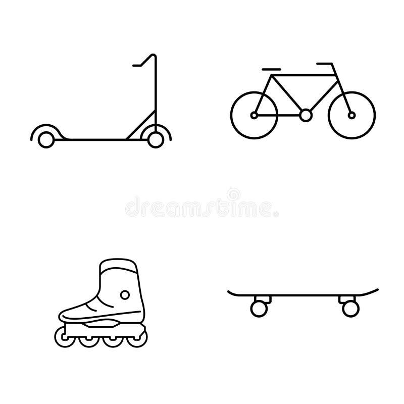 Prosty set jawnego wektoru cienkie kreskowe ikony Hulajnoga roweru rolkowe łyżwy i deskorolka ilustracja wektor