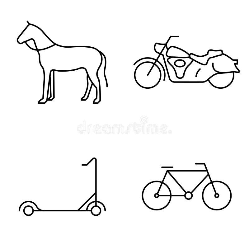 Prosty set jawnego wektoru cienkie kreskowe ikony Końska motocykl hulajnoga, rower i ilustracji