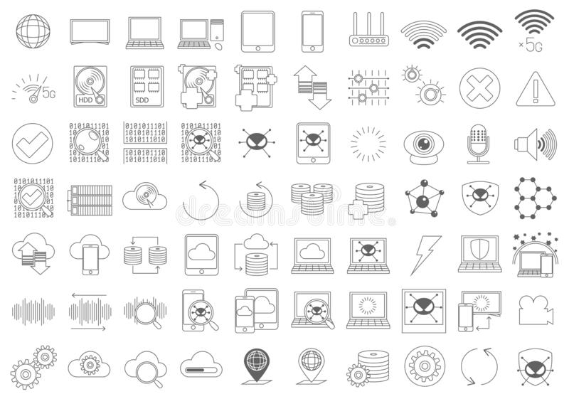 Prosty set Komputerowych składników wektoru linii Odnosić sie ikony royalty ilustracja