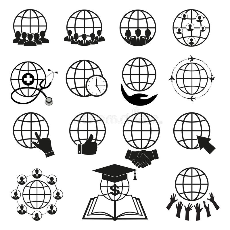Prosty set kule ziemskie odnosić sie kontur ikony Elementy dla mobilnych pojęcia i sieci apps ilustracji