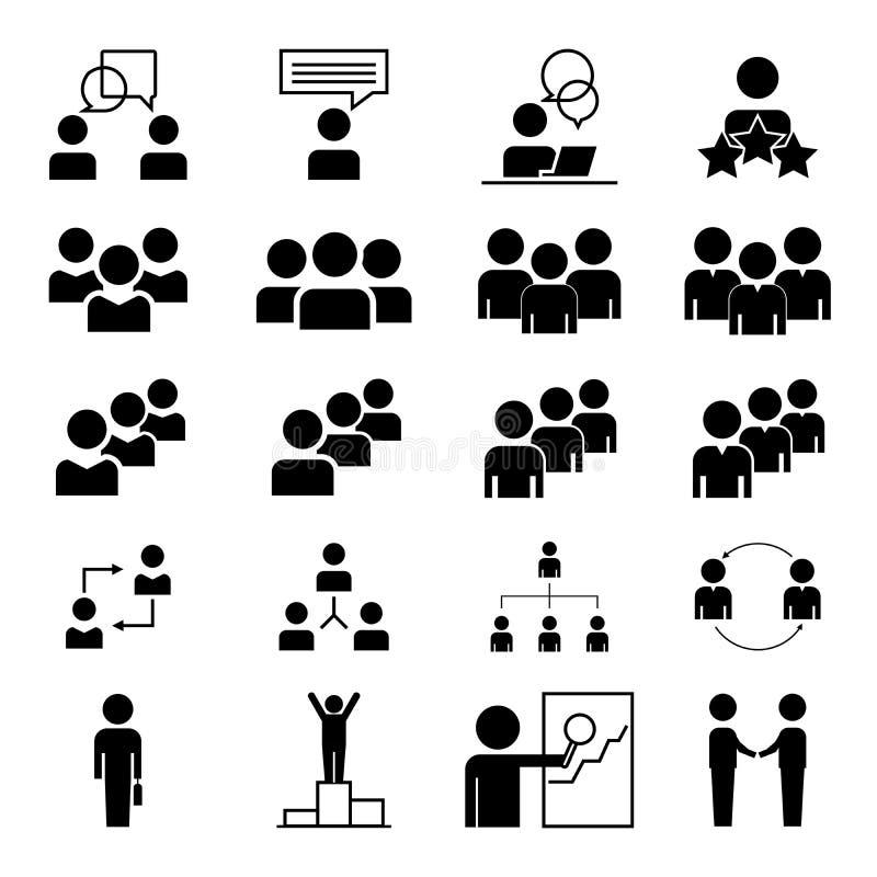Prosty set ludzie biznesu Zawiera taki ikony jak spotkania, komunikacji biznesowej, pracy zespo?owej, zwi?zku, m?wienia i wi?cej, royalty ilustracja
