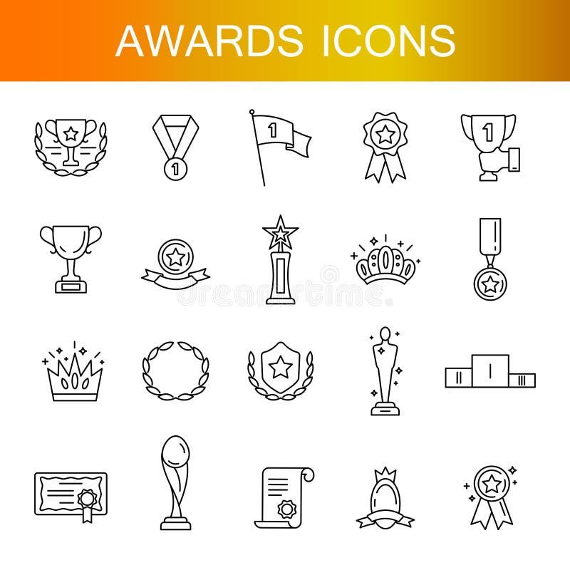 Prosty set nagrody Odnosić sie wektor linii ikony ilustracji