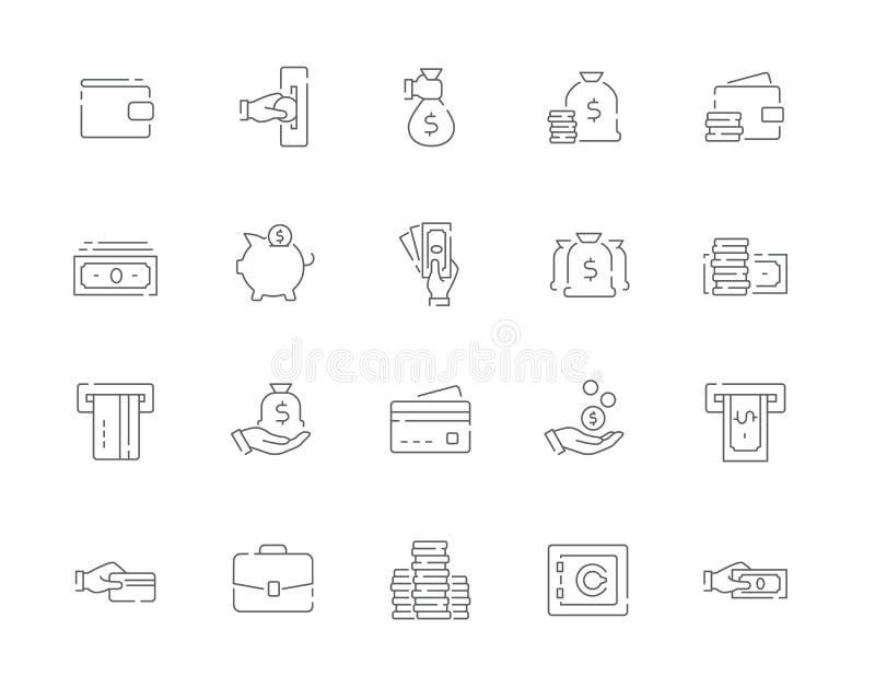Prosty set pieniądze wektoru linii sieci ikony tak jak gotówka, portfel, ATM, ręki mienia karta i więcej, royalty ilustracja