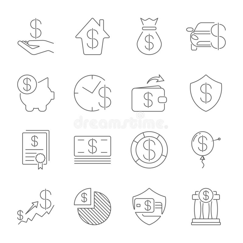 Prosty set pieni?dze Odnosi? sie wektor linii ikony Cienka kreskowa wektorowa ikona ustawia - dolara, karta kredytowa, portfel, g ilustracji