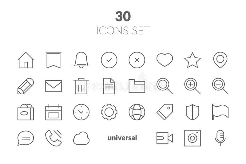 Prosty set Podstawowego interfejsu koloru wektoru linii Odnosić sie ikony C ilustracja wektor