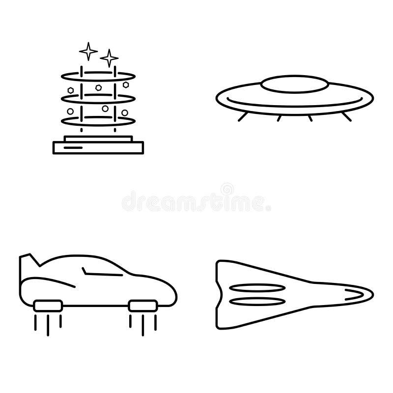 Prosty set przewiezionego wektoru cienkie kreskowe ikony Futurystyczna latająca samochodowa maszyny UFO sterowa rakieta i telepor ilustracja wektor