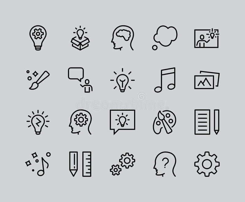 Prosty set twórczość Odnosić sie wektor linii ikony Zawiera taki ikony które inspiracja, pomysł, mózg, nauczyciel, muzyka, lampa, royalty ilustracja